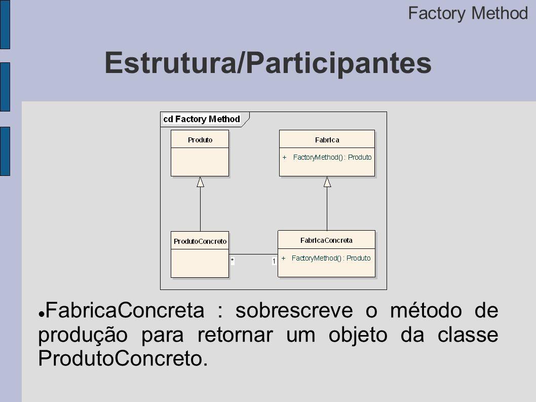 Estrutura/Participantes Factory Method FabricaConcreta : sobrescreve o método de produção para retornar um objeto da classe ProdutoConcreto.