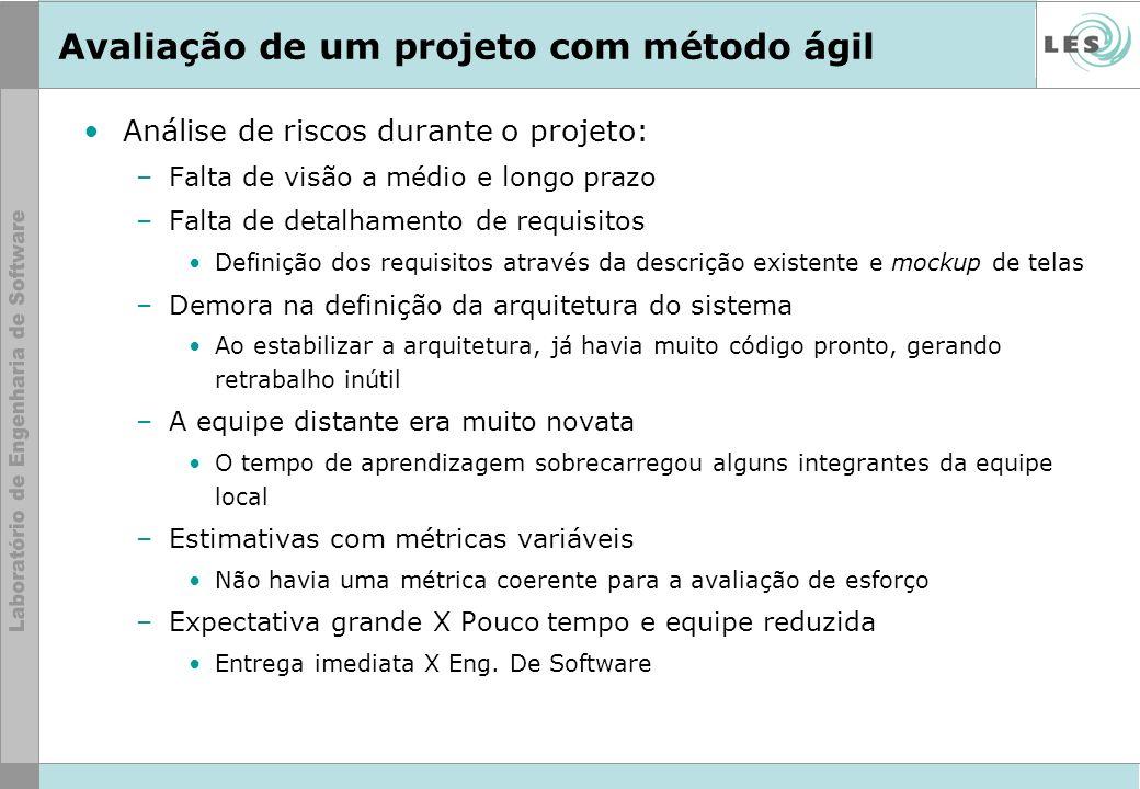 Avaliação de um projeto com método ágil Análise de riscos durante o projeto: –Falta de visão a médio e longo prazo –Falta de detalhamento de requisito