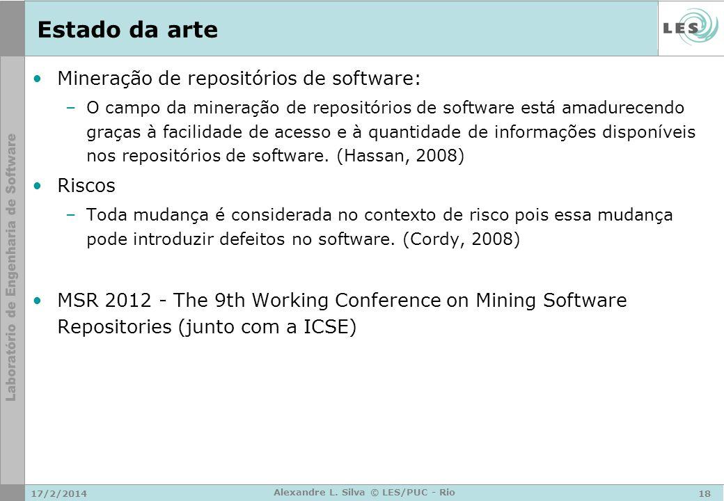 17/2/201418 Alexandre L. Silva © LES/PUC - Rio Estado da arte Mineração de repositórios de software: –O campo da mineração de repositórios de software