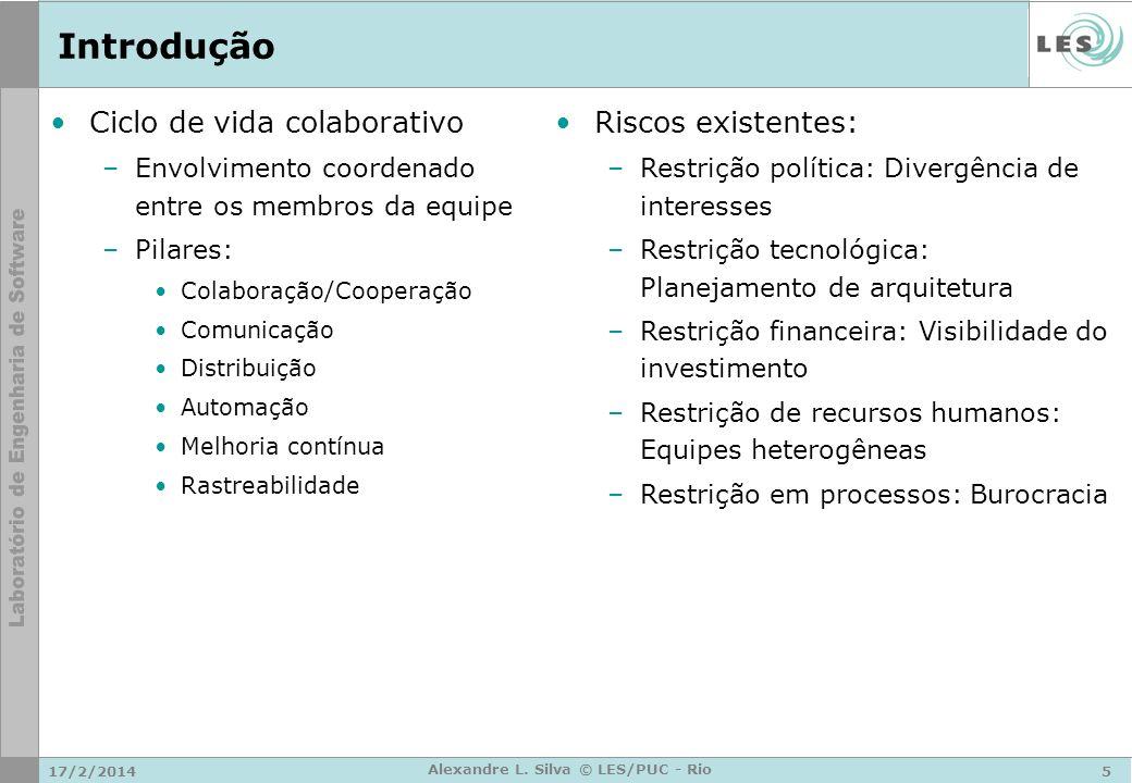 17/2/20145 Alexandre L. Silva © LES/PUC - Rio Introdução Ciclo de vida colaborativo –Envolvimento coordenado entre os membros da equipe –Pilares: Cola