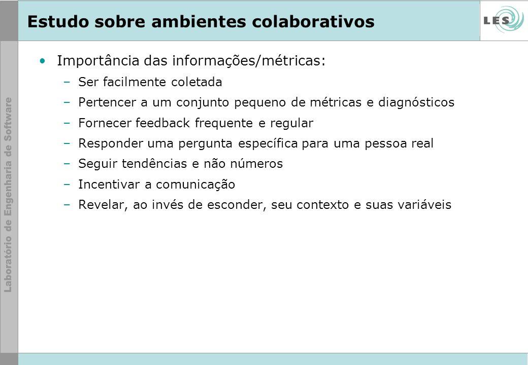 Estudo sobre ambientes colaborativos Importância das informações/métricas: –Ser facilmente coletada –Pertencer a um conjunto pequeno de métricas e dia