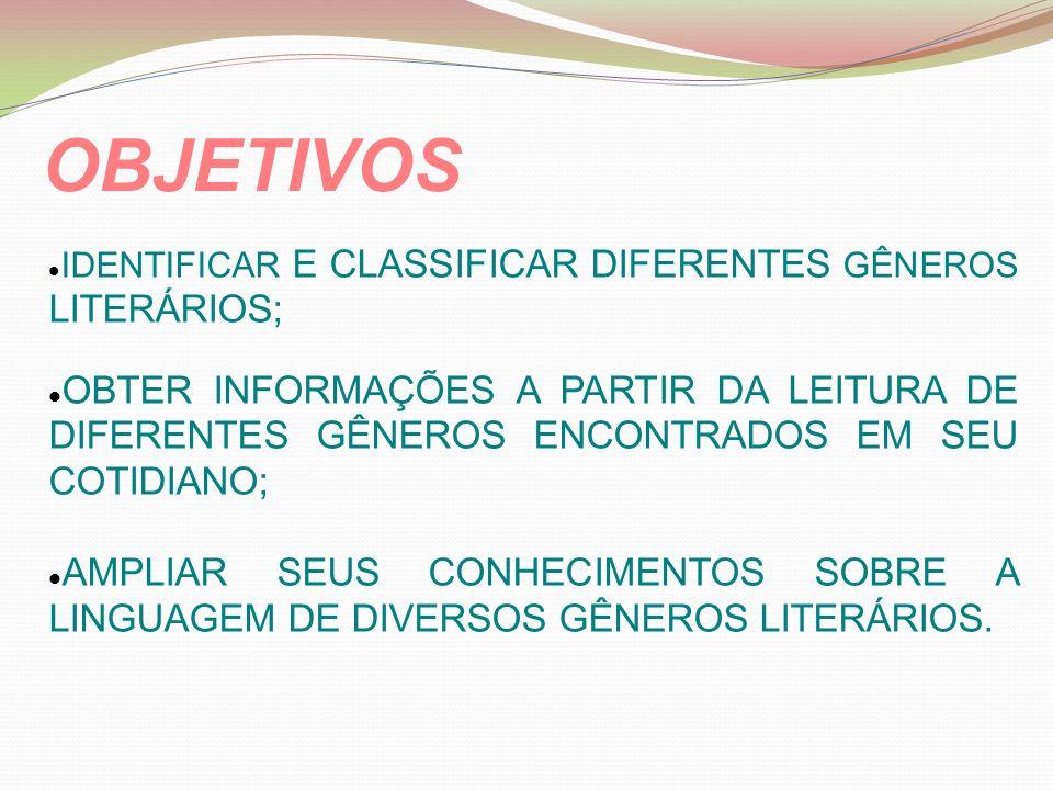 IDENTIFICAR E CLASSIFICAR DIFERENTES GÊNEROS LITERÁRIOS; OBTER INFORMAÇÕES A PARTIR DA LEITURA DE DIFERENTES GÊNEROS ENCONTRADOS EM SEU COTIDIANO; AMPLIAR SEUS CONHECIMENTOS SOBRE A LINGUAGEM DE DIVERSOS GÊNEROS LITERÁRIOS.
