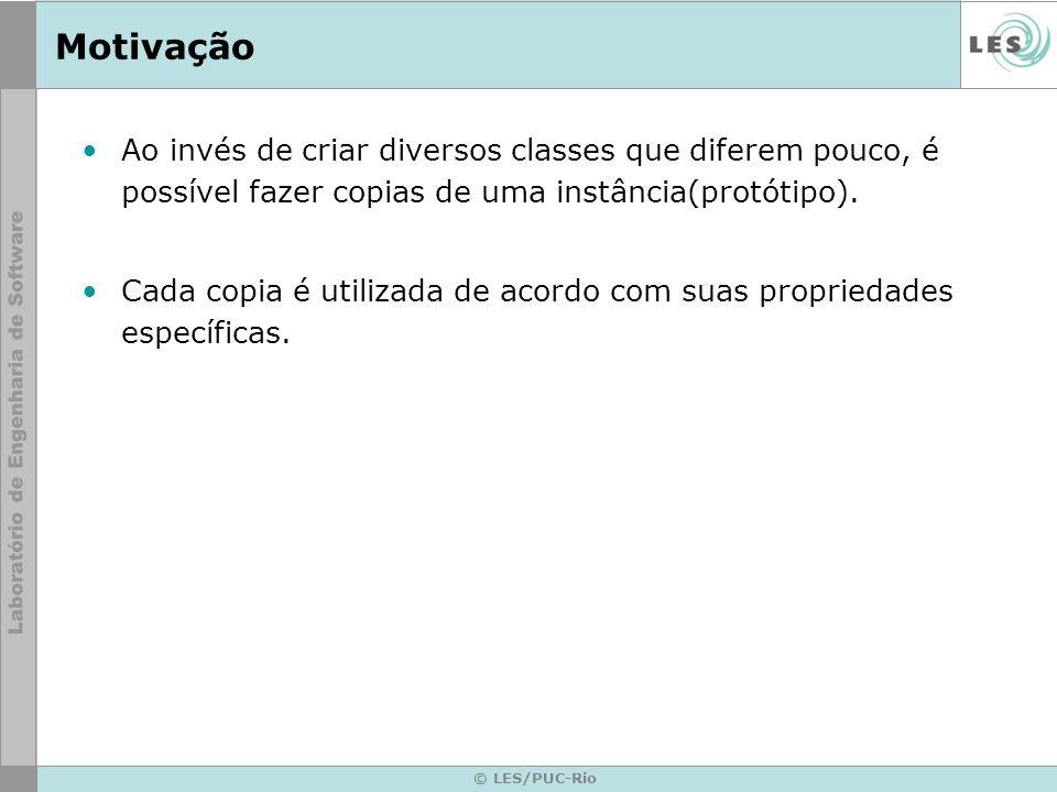 © LES/PUC-Rio Motivação Ao invés de criar diversos classes que diferem pouco, é possível fazer copias de uma instância(protótipo). Cada copia é utiliz