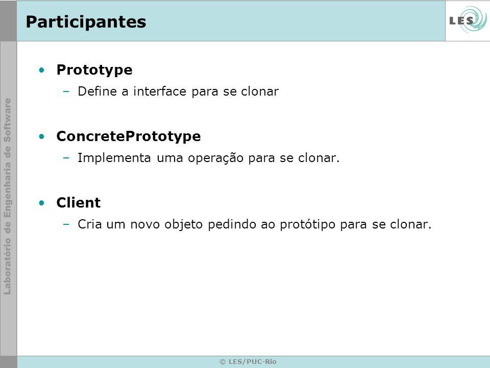 © LES/PUC-Rio Participantes Prototype –Define a interface para se clonar ConcretePrototype –Implementa uma operação para se clonar. Client –Cria um no