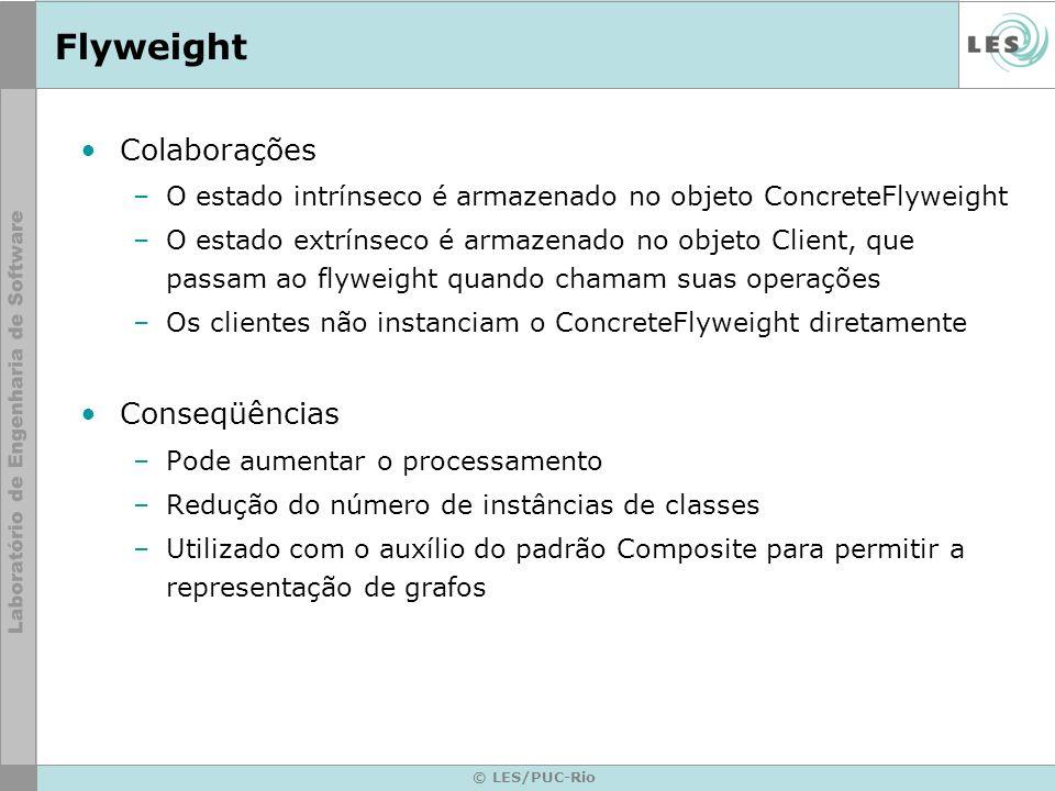 © LES/PUC-Rio Flyweight Colaborações –O estado intrínseco é armazenado no objeto ConcreteFlyweight –O estado extrínseco é armazenado no objeto Client,
