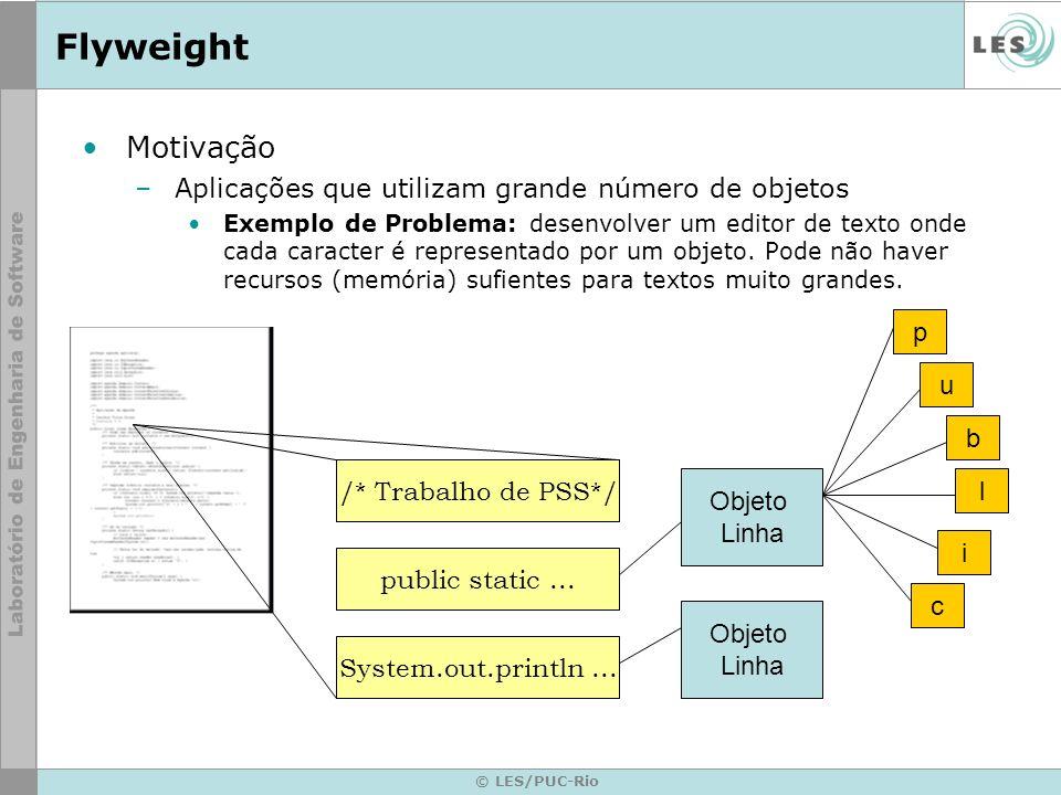 © LES/PUC-Rio Flyweight Motivação –Aplicações que utilizam grande número de objetos Exemplo de solução: monta-se um pool de objetos compartilhados.