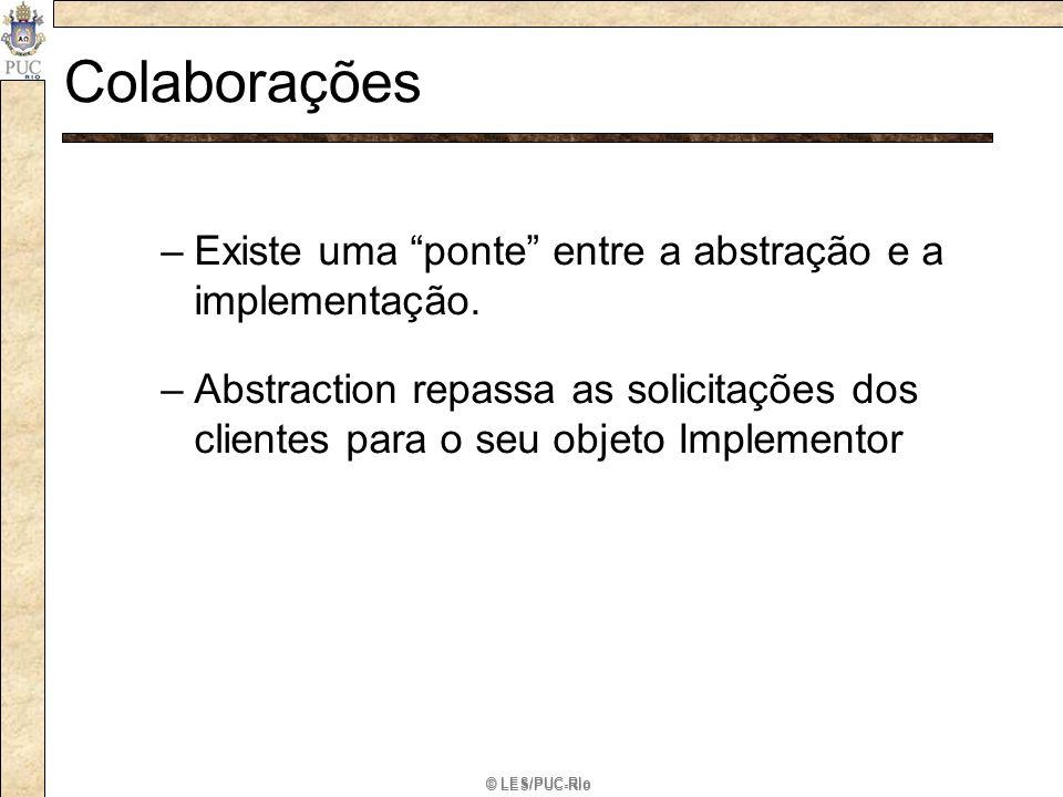© LES/PUC-Rio Colaborações –Existe uma ponte entre a abstração e a implementação. –Abstraction repassa as solicitações dos clientes para o seu objeto