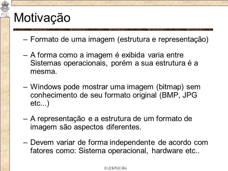© LES/PUC-Rio Motivação A Solução –O padrão Bridge permite diferentes hierarquias de classes para as abstrações e suas implementações.