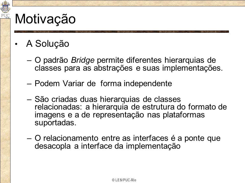 © LES/PUC-Rio Motivação A Solução –O padrão Bridge permite diferentes hierarquias de classes para as abstrações e suas implementações. –Podem Variar d