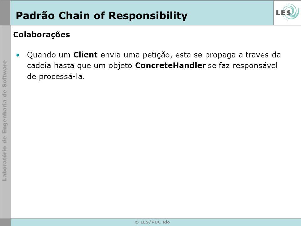 © LES/PUC-Rio Colaborações Quando um Client envia uma petição, esta se propaga a traves da cadeia hasta que um objeto ConcreteHandler se faz responsáv