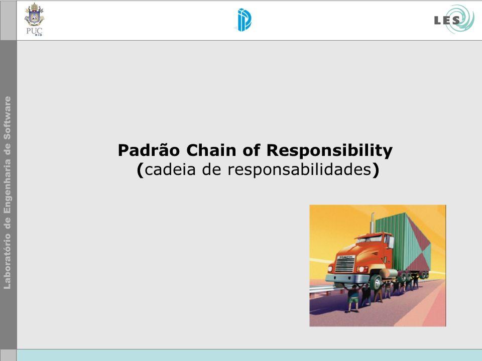 © LES/PUC-Rio Propósito do Padrão O padrão Chain of Responsability evita acoplar o emissor de uma petição com seu receptor, dando para mais de um objeto a possibilidade de responder à petição.