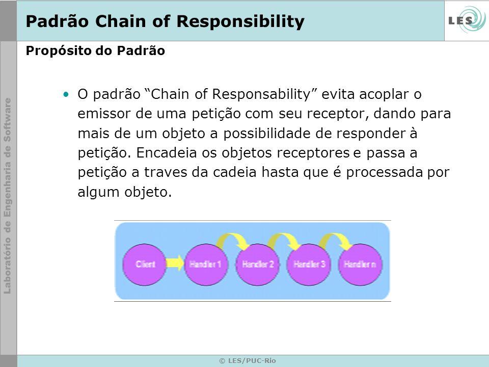 © LES/PUC-Rio Propósito do Padrão O padrão Chain of Responsability evita acoplar o emissor de uma petição com seu receptor, dando para mais de um obje