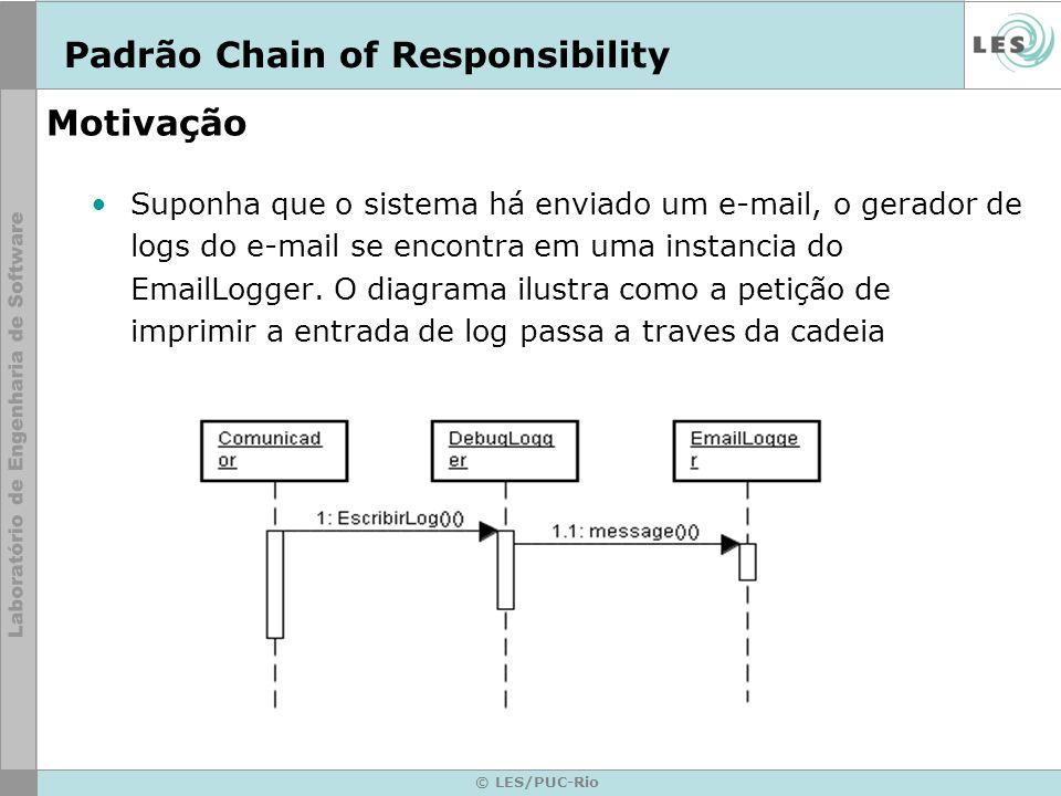 © LES/PUC-Rio Motivação Neste caso a petição não é processada pelo DebuggerLogger, e é detida no EmailLogger, o qual pode processá-la ou obviá-la.