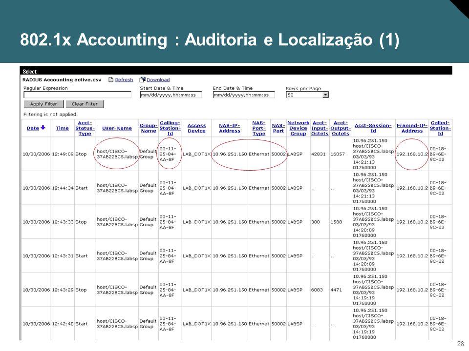 29 802.1x Accounting : Auditoria e Localização (2)