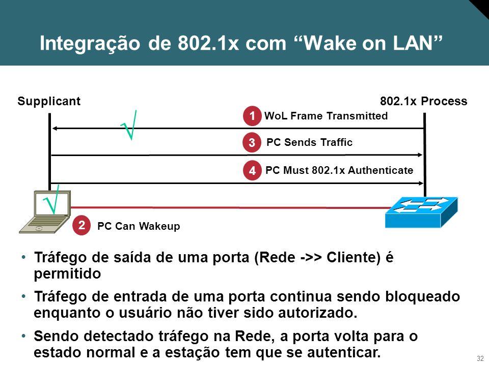 33 802.1X : Reautenticação periódica Portas que suportam 802.1x podem ser configuradas para exigir reautenticação periodicamente Switch LAN (suporta 802.1x) 12 6 39 Switch LAN (suporta 802.1x) 12 6 39 Algumas máquinas foram autenticadas e estão utilizando a Rede Período de reautenticação expira e todos os clientes são forçados a se reautenticar.