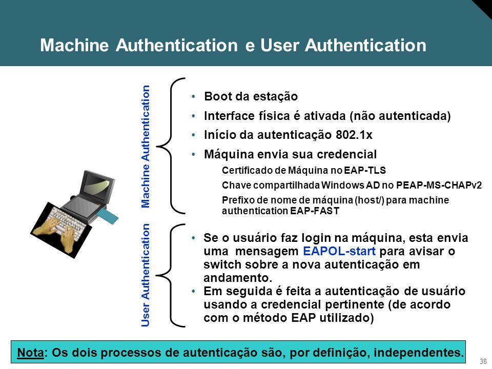 39 802.1x e Machine Access Restriction A proposta é criar um vínculo entre a autenticação de usuário e a autenticação de máquina (uma autenticação de usuário só pode ser aceita após uma autenticação de máquina correta) Possível para EAP-FAST, PEAP/MS-CHAPv2 e EAP-TLS A autenticação de máquina foi originalmente concebida para compatibilizar a plataforma 802.1x com as características de boot do Windows e não como um item de Segurança.