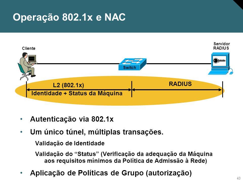 44 Fluxo de Admissão NAC Key: Opcional Obrigatório Servidor RADIUS Posture Validation Server (PVS) Máquina solicitando acesso à Rede Network Access Devices (NADs) Servidores de Políticas de Acesso/Admissão RADIUS Cisco Trust Agent (CTA) Servidor de Auditoria (AS) Credentials 2 Notification 8 Authorization 6 Identity 4a Compliant.