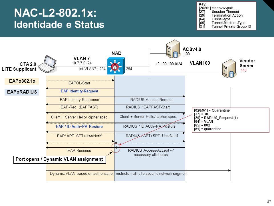 48 NAC-L2-802.1x: Processo de reautenticação NAD ACSv4.0.100 Vendor Server.140 VLAN100.254 10.100.100.0/24 CTA 2.0 Lite Supplicant DHCP (.100) VLAN 7 10.7.7.0 /24 RADIUS Access-Accept w/ necessary attributes EAP-Success int VLAN7=.254 EAPo802.1x EAPoRADIUS Overwrite NAD Default Reauth Timer and reset Session Timeout = 30 802.1x Re-authentication 1.