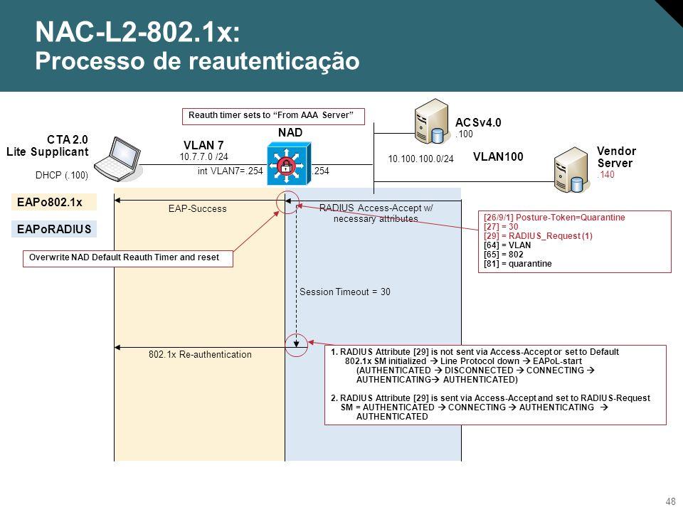 49 NAC-L2-802.1x: Quarentena (Atribuição Dinâmica de VLAN) NAD ACSv4.0.100 Vendor Server.140 VLAN100.254 10.100.100.0/24 CTA 2.0 Lite Supplicant DHCP (.100) VLAN 7 10.7.7.0 /24 RADIUS Access-Accept w/ necessary attributes EAP-Success int VLAN7=.254 EAPo802.1x EAPoRADIUS If um nome de VLAN existe localmente no switch, then overwrite a VLAN da porta [26/9/1] Posture-Token=Quarantine [27] = 30 [29] = RADIUS_Request (1) [64] = VLAN [65] = 802 [81] = quarantine Reauth timer sets to From AAA Server VLAN Name Status Ports ---- -------------------------------- --------- ------------------------------- 1 default active Fa0/11 10 client active Fa0/1, Fa0/2, Fa0/3, Fa0/4 Fa0/5, Fa0/6, Fa0/7, Fa0/8 Fa0/9, Fa0/10 11 quarantine active 12 temp active 13 Guests active 1002 fddi-default act/unsup 1003 token-ring-default act/unsup 1004 fddinet-default act/unsup 1005 trnet-default act/unsup