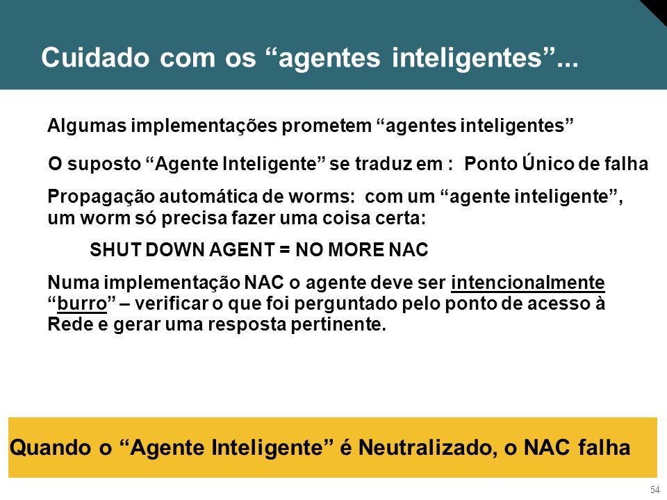 55 Avaliando supostas implementações de NAC Atende as características da definição de NAC.