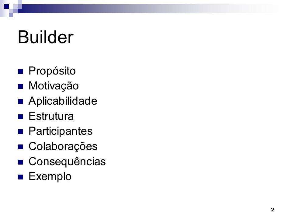 2 Builder Propósito Motivação Aplicabilidade Estrutura Participantes Colaborações Consequências Exemplo