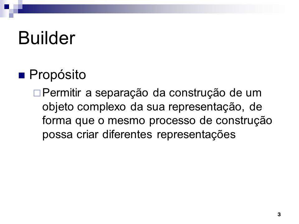 3 Builder Propósito Permitir a separação da construção de um objeto complexo da sua representação, de forma que o mesmo processo de construção possa criar diferentes representações