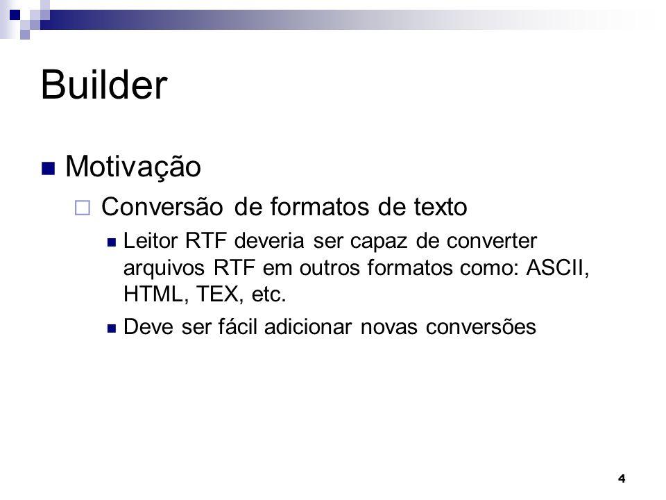 4 Builder Motivação Conversão de formatos de texto Leitor RTF deveria ser capaz de converter arquivos RTF em outros formatos como: ASCII, HTML, TEX, etc.