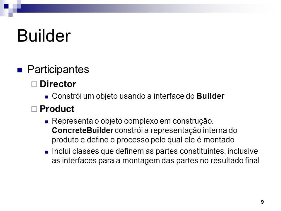 9 Builder Participantes Director Constrói um objeto usando a interface do Builder Product Representa o objeto complexo em construção.