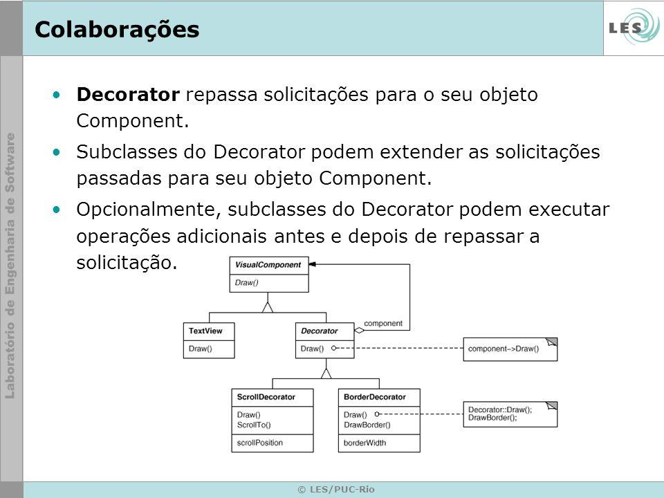 © LES/PUC-Rio Colaborações Decorator repassa solicitações para o seu objeto Component. Subclasses do Decorator podem extender as solicitações passadas