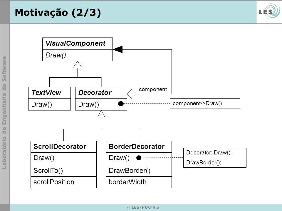 © LES/PUC-Rio Motivação (2/3) TextView Draw() ScrollDecorator Draw() ScrollTo() scrollPosition VisualComponent Draw() Decorator Draw() BorderDecorator