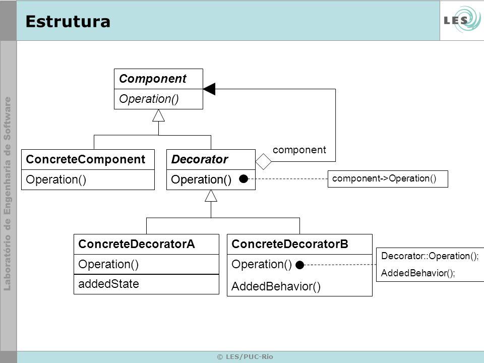 © LES/PUC-Rio Estrutura ConcreteDecoratorB Operation() AddedBehavior() ConcreteDecoratorA Operation() addedState Component Operation() Decorator Opera