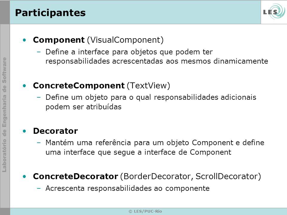 © LES/PUC-Rio Participantes Component (VisualComponent) –Define a interface para objetos que podem ter responsabilidades acrescentadas aos mesmos dina