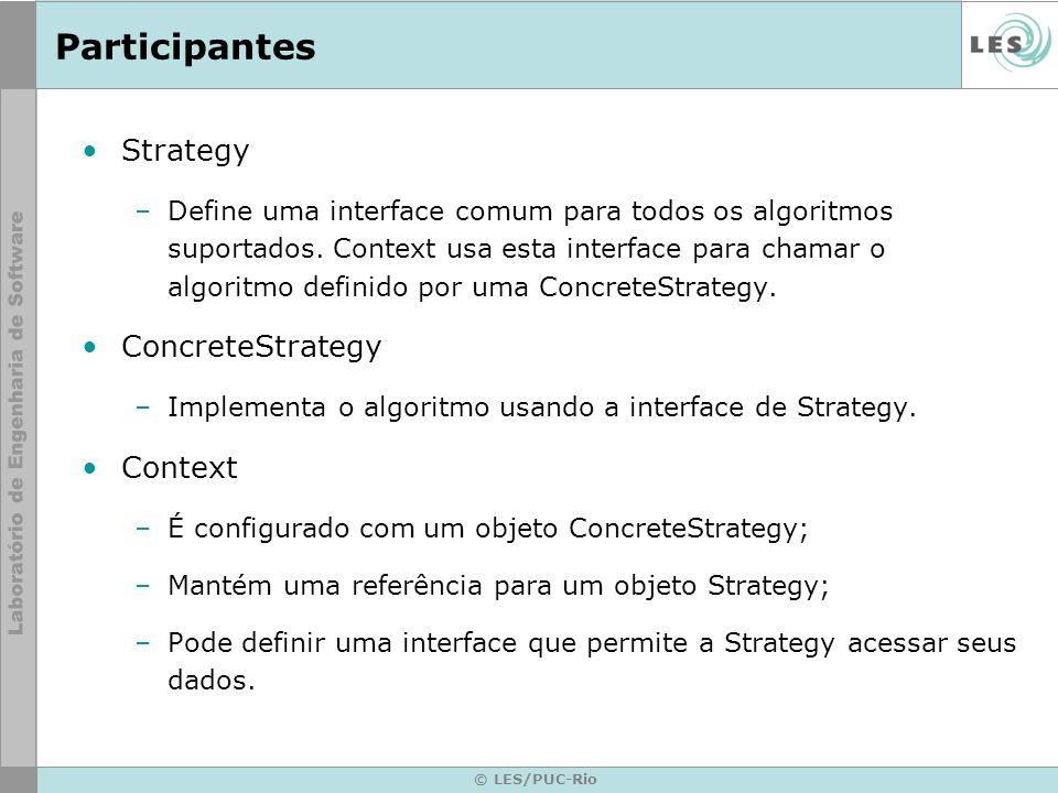 Colaborações Estratégia e Contexto interagem para implementar o algoritmo escolhido.