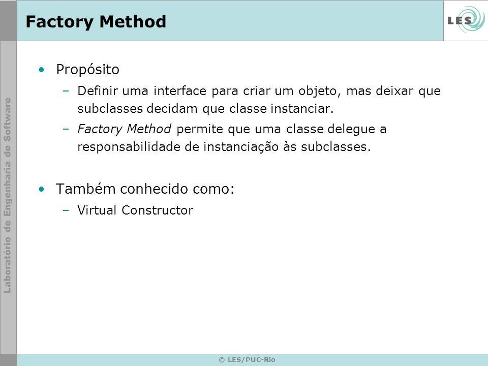 © LES/PUC-Rio Factory Method Propósito –Definir uma interface para criar um objeto, mas deixar que subclasses decidam que classe instanciar. –Factory