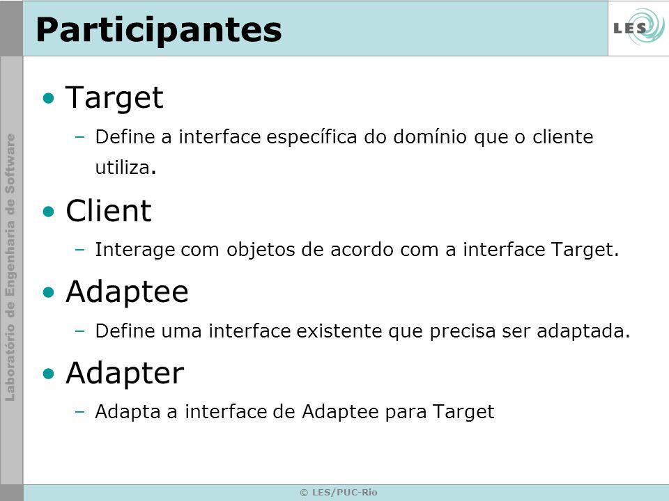 Participantes Target –Define a interface específica do domínio que o cliente utiliza. Client –Interage com objetos de acordo com a interface Target. A