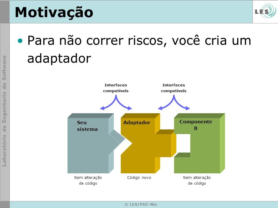 © LES/PUC-Rio Motivação Para não correr riscos, você cria um adaptador Seu sistema Interfaces compatíveis Adaptador Componente B Interfaces compatívei