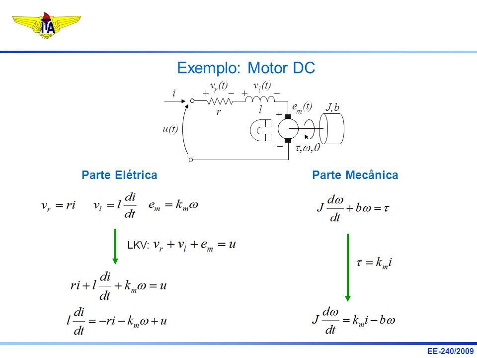 EE-240/2009 Parte Elétrica Exemplo: Motor DC u(t) v (t) rl i e (t) J,b m r l LKV: Parte Mecânica