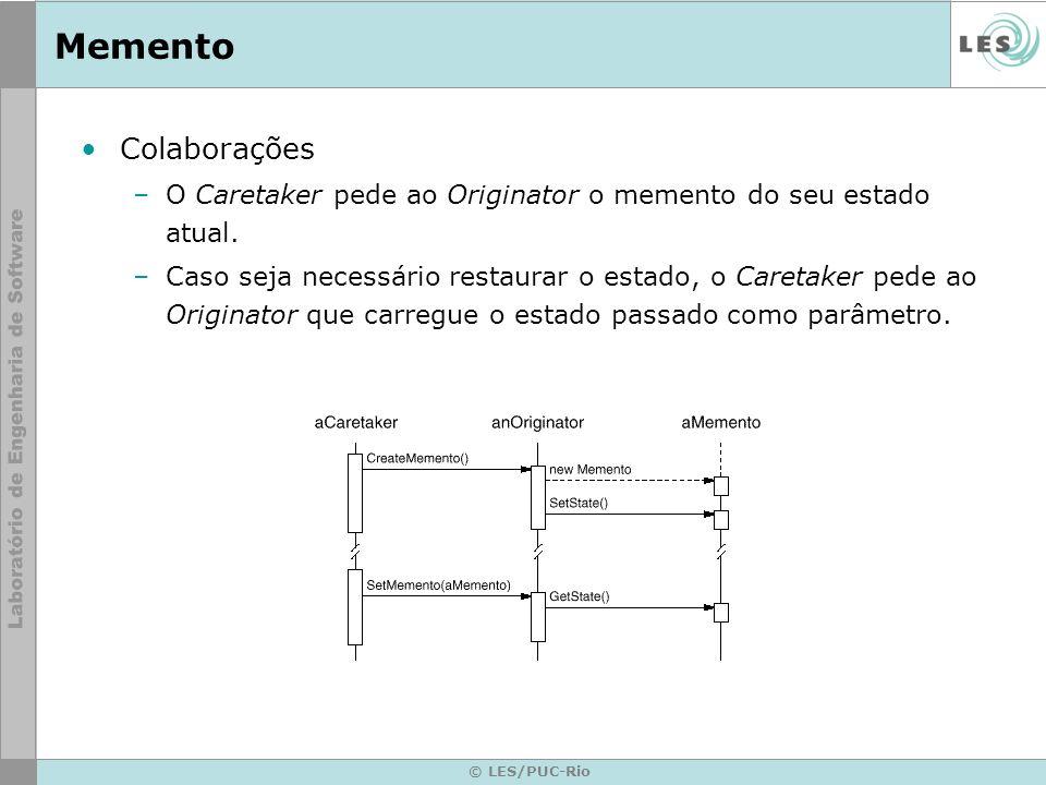 © LES/PUC-Rio Memento Colaborações –O Caretaker pede ao Originator o memento do seu estado atual. –Caso seja necessário restaurar o estado, o Caretake