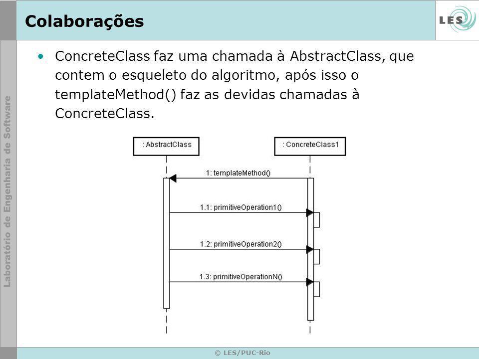 © LES/PUC-Rio Colaborações ConcreteClass faz uma chamada à AbstractClass, que contem o esqueleto do algoritmo, após isso o templateMethod() faz as devidas chamadas à ConcreteClass.