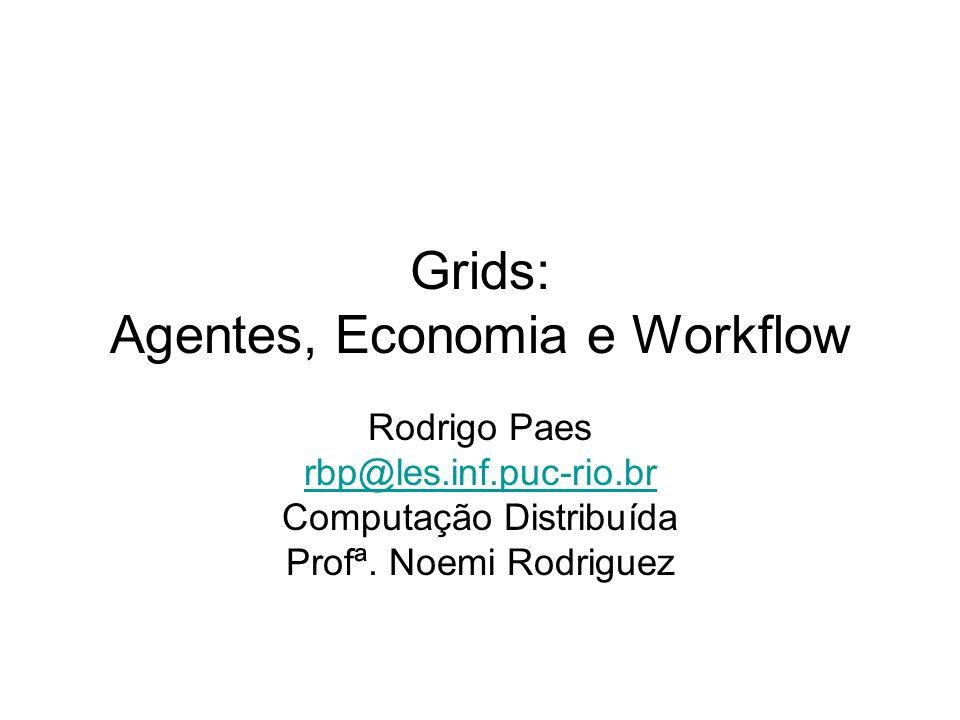 Agenda PARTE I –Agentes - Conceitos –Agentes e Grid PARTE II –Economia Gerenciamento de recursos baseado em modelos econômicos –Workflow Exemplo em bioinformática