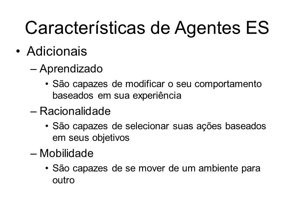 Características de Agentes ES Adicionais –Aprendizado São capazes de modificar o seu comportamento baseados em sua experiência –Racionalidade São capa
