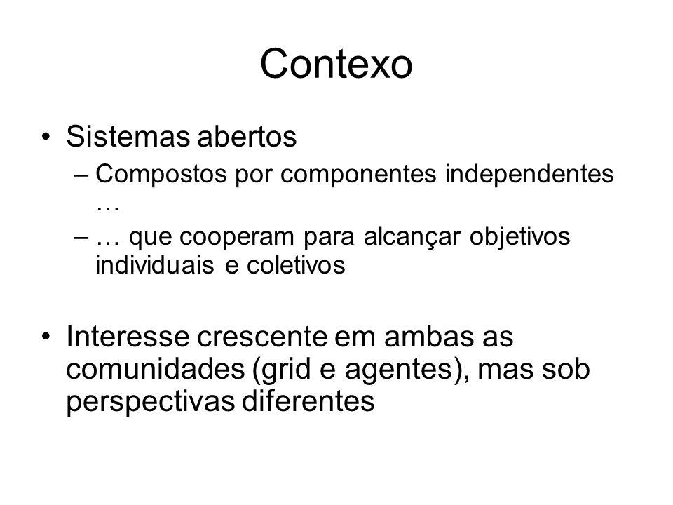 Contexo Sistemas abertos –Compostos por componentes independentes … –… que cooperam para alcançar objetivos individuais e coletivos Interesse crescent