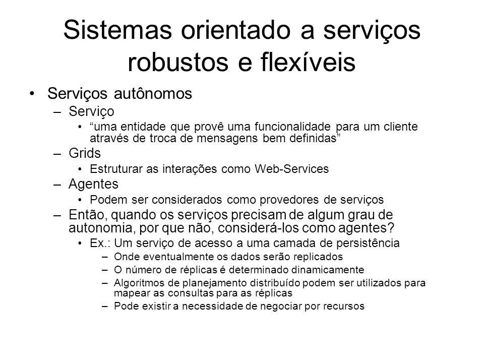 Sistemas orientado a serviços robustos e flexíveis Serviços autônomos –Serviço uma entidade que provê uma funcionalidade para um cliente através de tr