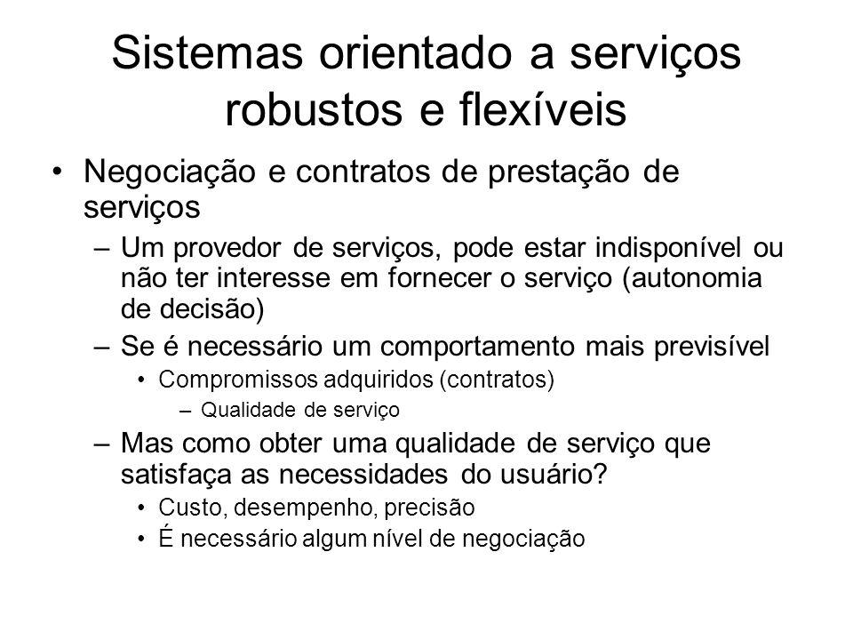 Sistemas orientado a serviços robustos e flexíveis Negociação e contratos de prestação de serviços –Um provedor de serviços, pode estar indisponível o