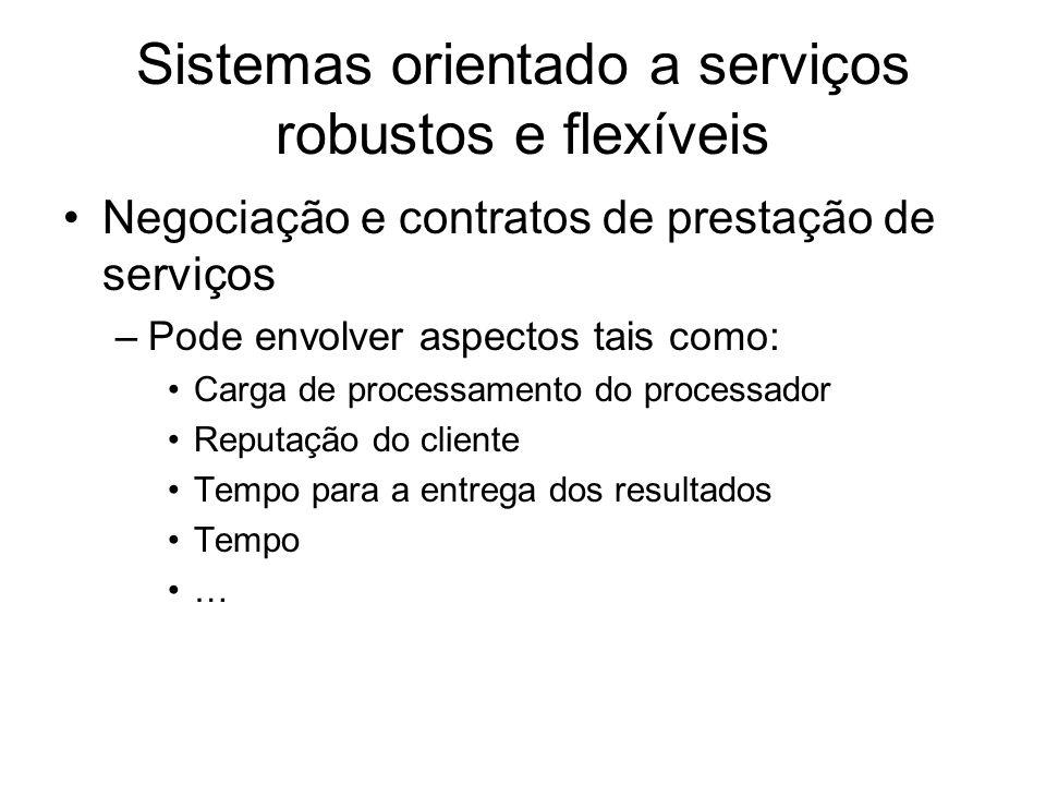 Sistemas orientado a serviços robustos e flexíveis Negociação e contratos de prestação de serviços –Pode envolver aspectos tais como: Carga de process