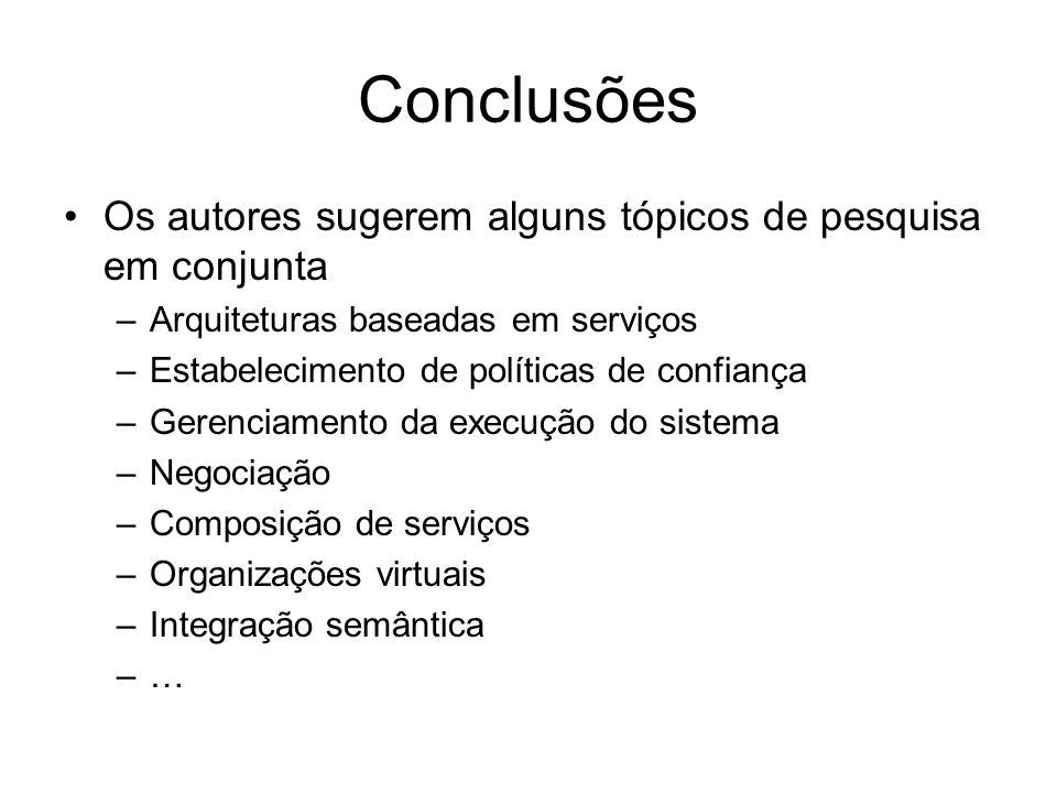Conclusões Os autores sugerem alguns tópicos de pesquisa em conjunta –Arquiteturas baseadas em serviços –Estabelecimento de políticas de confiança –Ge