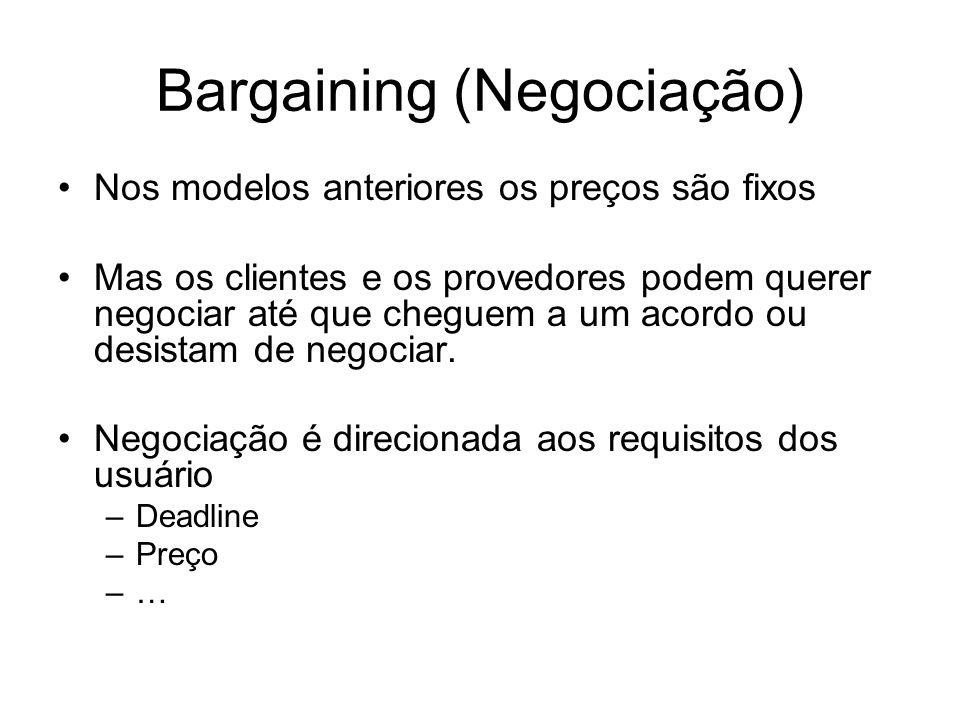Bargaining (Negociação) Nos modelos anteriores os preços são fixos Mas os clientes e os provedores podem querer negociar até que cheguem a um acordo o
