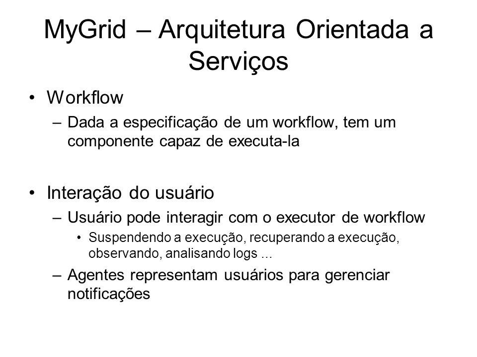 MyGrid – Arquitetura Orientada a Serviços Workflow –Dada a especificação de um workflow, tem um componente capaz de executa-la Interação do usuário –U