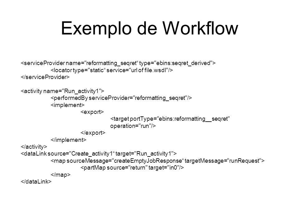 Exemplo de Workflow <target portType=