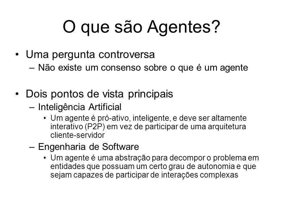 Uma pergunta controversa –Não existe um consenso sobre o que é um agente Dois pontos de vista principais –Inteligência Artificial Um agente é pró-ativ